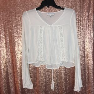 Kendall and Kylie white cropped tie shirt
